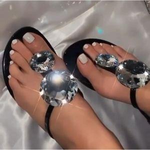 Just In!!💎🖤Gemstone Sparkling Sandal - Black